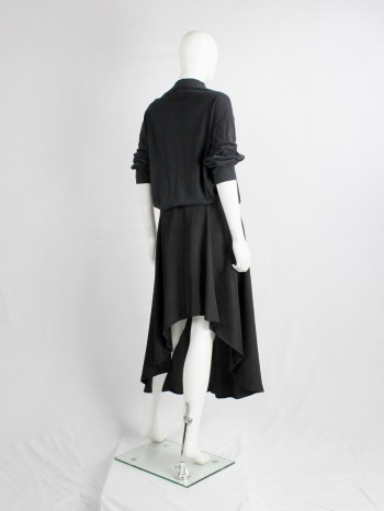 Y's Yohji Yamamoto black asymmetric circle skirt with backwards high-low hem