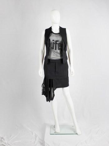A.F. Vandevorst black short skirt with a sheer sideways shirt as a lining — spring 2017