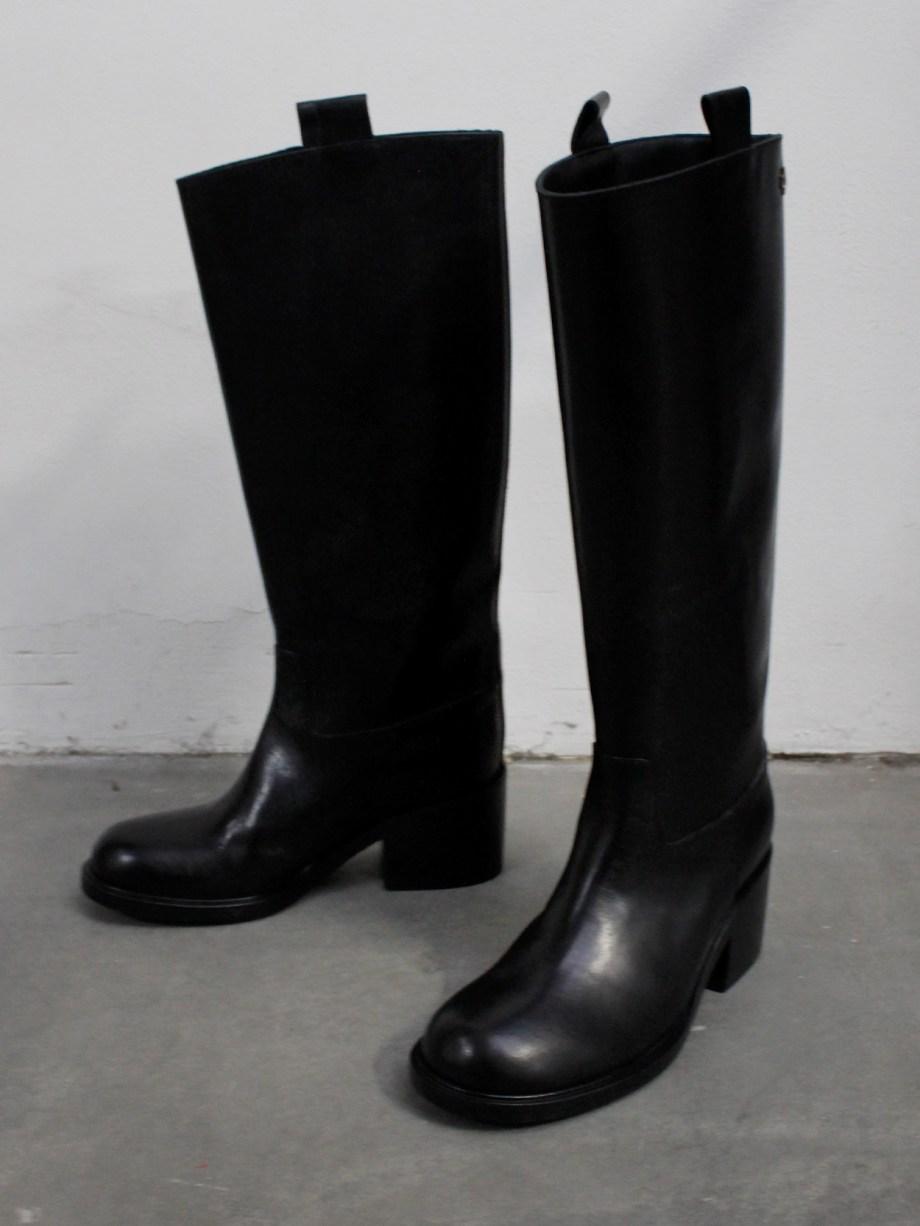 A.F. Vandevorst Black Beauty classic riding boots with pink diamond cross (39) — pair 10/12