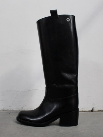 A.F. Vandevorst Black Beauty classic riding boots with white diamond cross (39) — pair 11/12