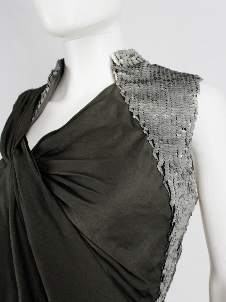 A.F. Vandevorst khaki green draped top with silver sequin shoulder panel and open back — spring 2011