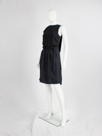 Ann Demeulemeester black midi-skirt with belt strap and paperbag waist — spring 2003