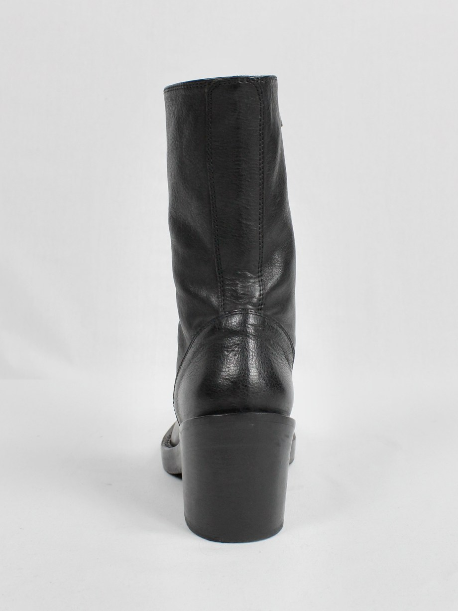 Ann Demeulemeester black tall boots with curved zipper (36.5) — fall 2012