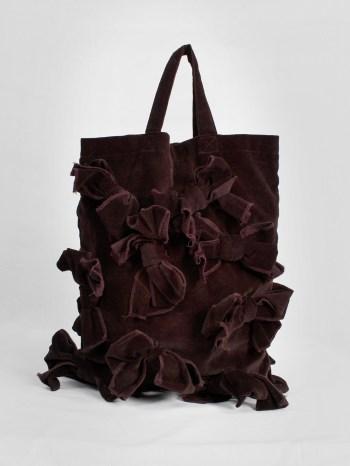 Comme des Garçons Comme burgundy velvet tote bag covered in bows