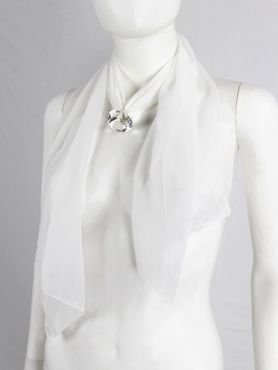Maison Martin Margiela white scarf necklace with oversized diamond — fall 2008