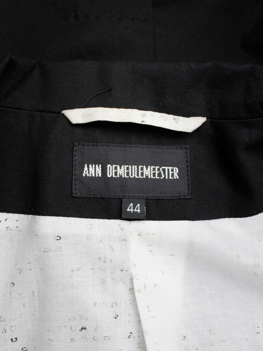 Ann Demeulemeester black single button blazer with lettering on the lining — spring 2006