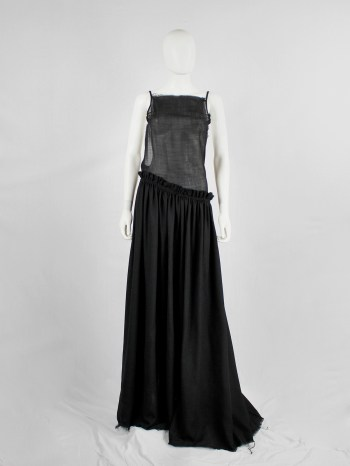 A.F. Vandevorst black backless maxi dress with gathered slanted skirt — fall 1999