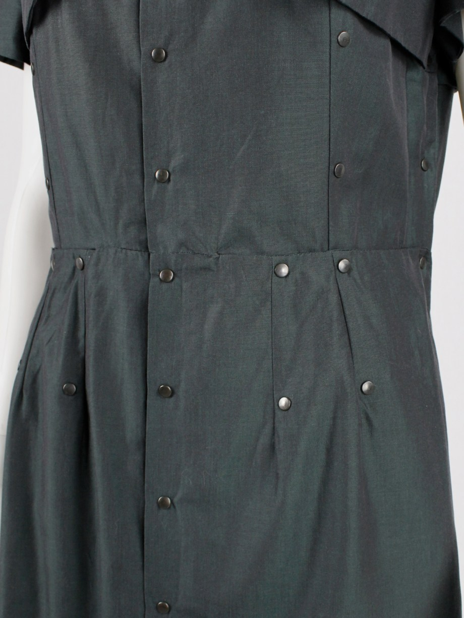 A.F. Vandevorst dark green panelled dress with bronze studs — spring 2014