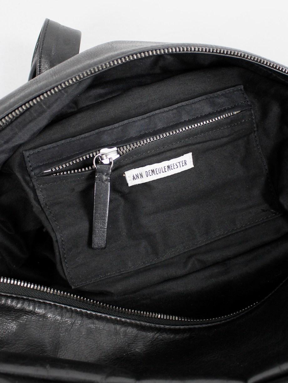 Ann Demeulemeester Blanche black rectangular leather boston bag