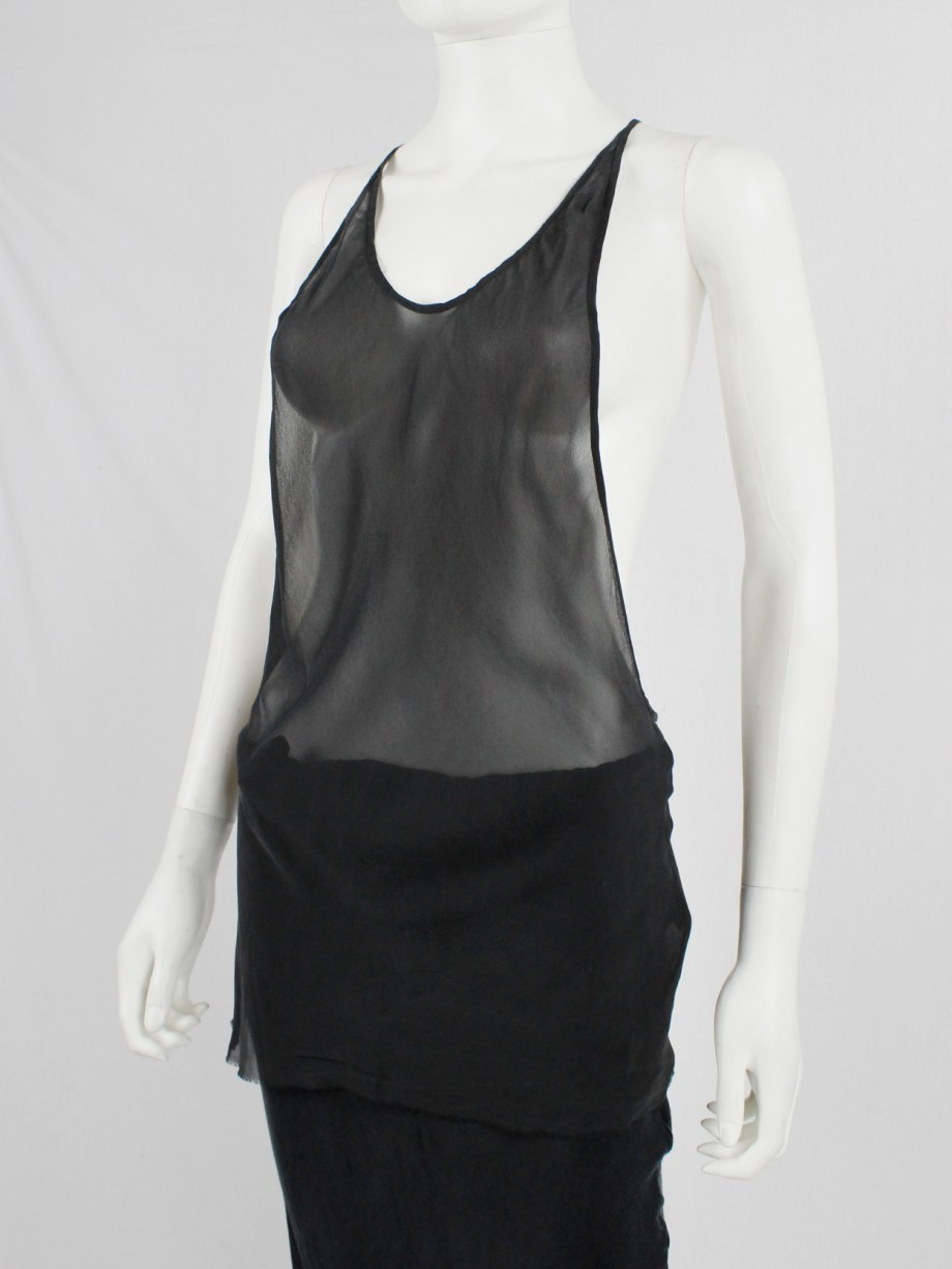 Ann Demeulemeester black sheer top with minimalist back strap — spring 2006