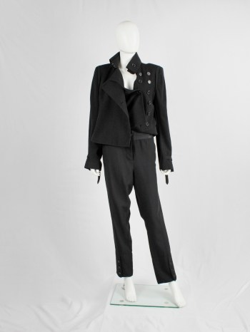 Ann Demeulemeester black trousers with satin waist and buttoned cuffs