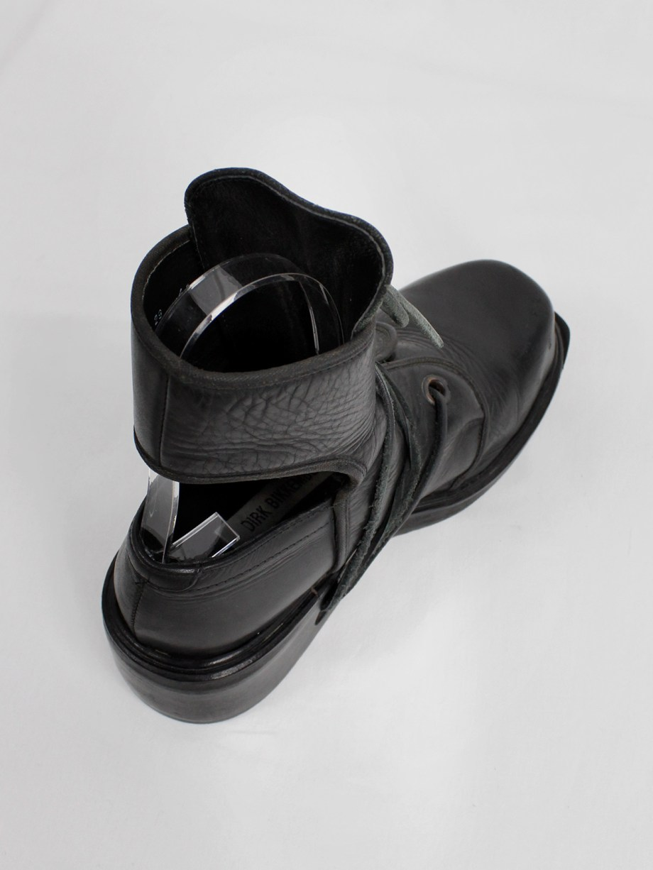 Dirk Bikkembergs black cut out mountaineering boots with laces through the soles 90s 1990s (16)