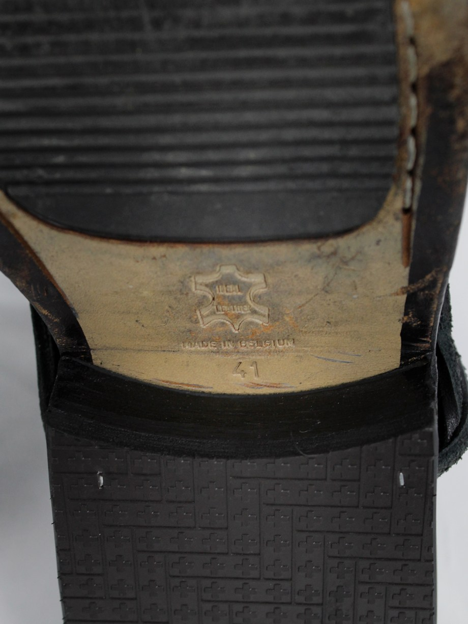 Dirk Bikkembergs black cut out mountaineering boots with laces through the soles (41) — 1990s