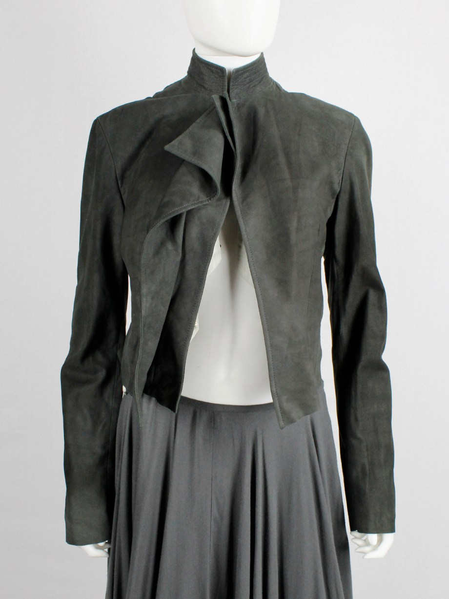 Haider Ackermann forest green suede jacket with draped front panel
