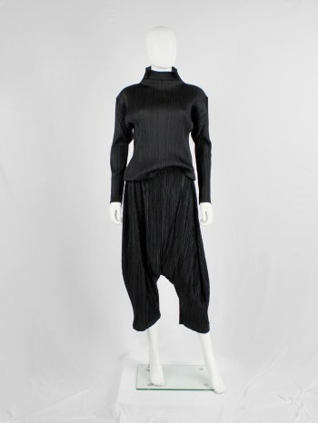 Issey Miyake Pleats Please black sarouel trousers with drop crotch