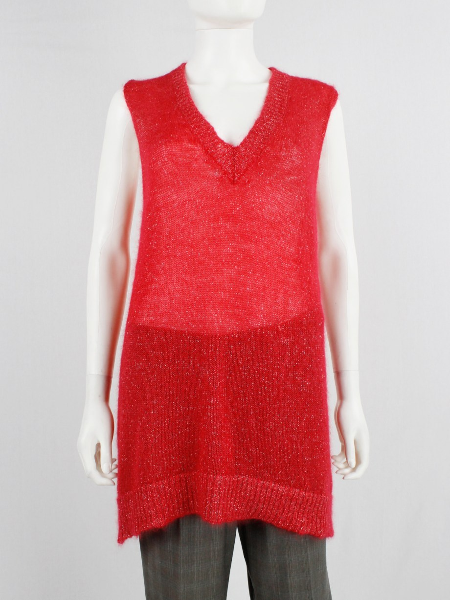 Maison Martin Margiela red knit top with woven silver threads — fall 2004