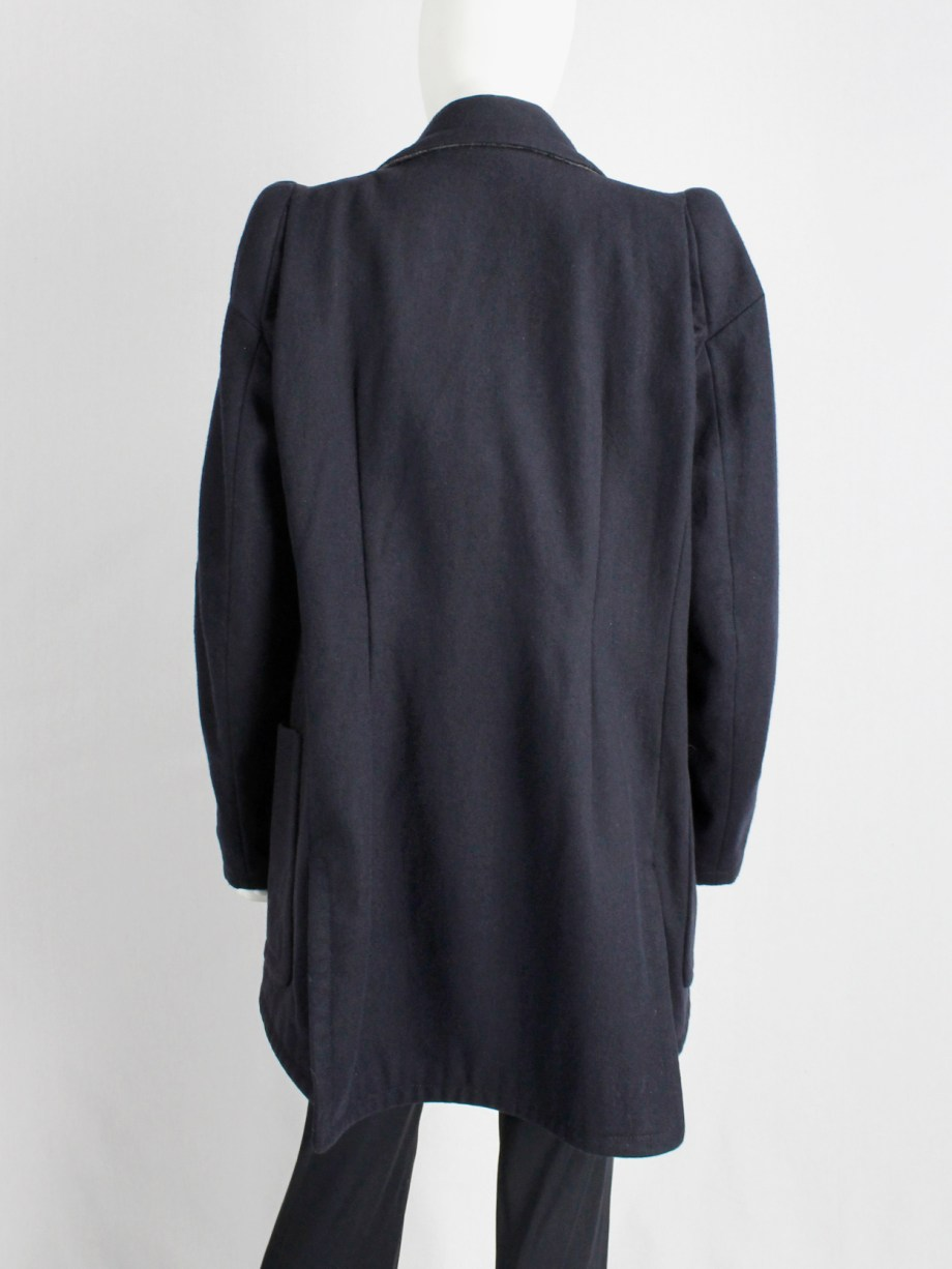 Maison Martin Margiela navy oversized caban with cigarette shoulders — fall 1990