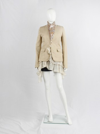 A.F. Vandevorst light salmon blazer with sequins underneath the collar — spring 2000