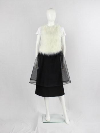 Comme des Garçons Girl white t-shirt with faux fur front — AD 2018