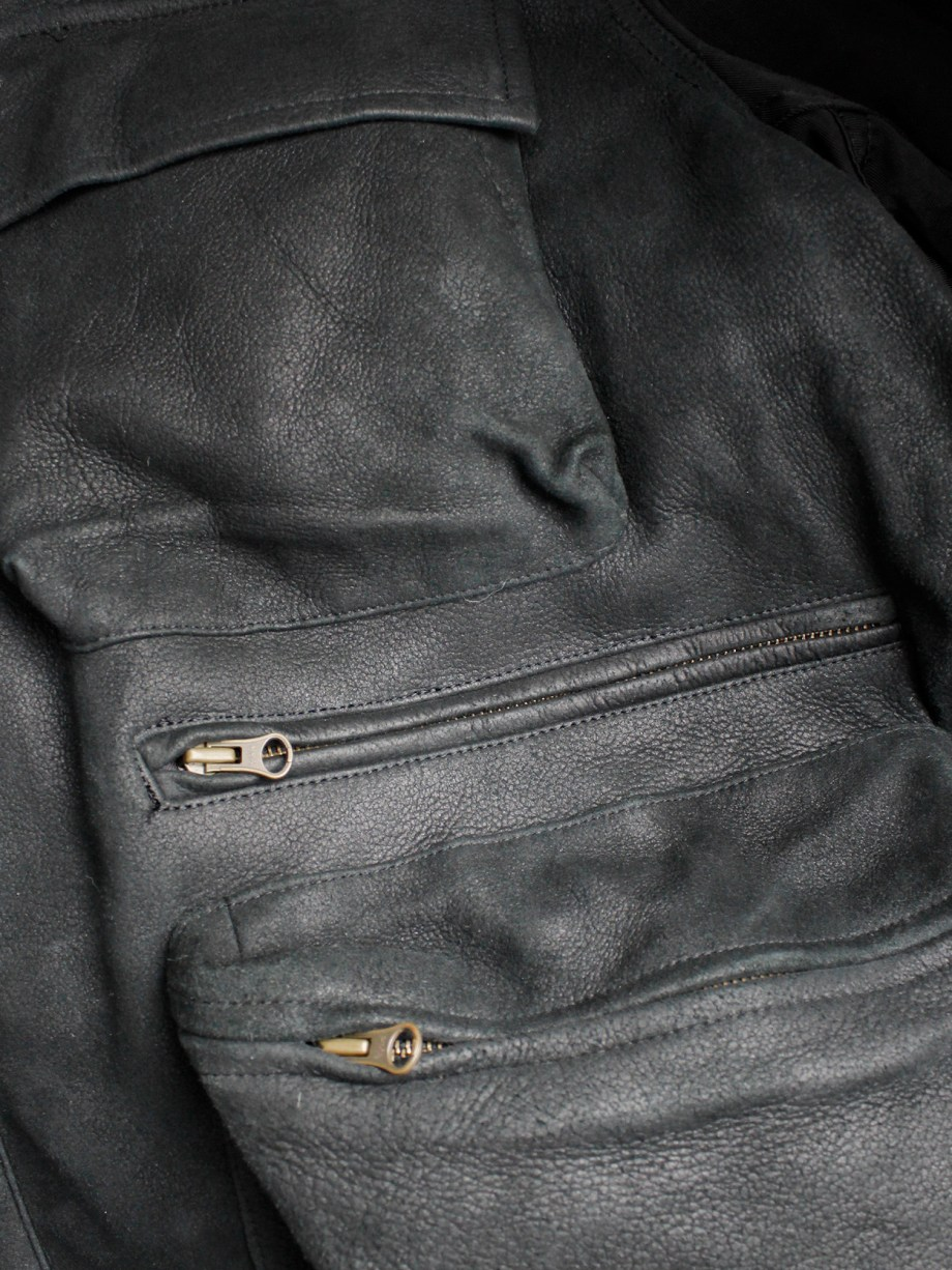 Pour Deux black leather jacket with cargo pockets and contrasting sleeves and back