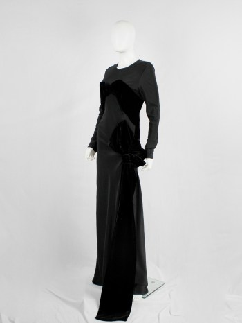 A.F. Vandevorst black maxi dress with velvet bustier and unraveled bow — fall 2017 couture
