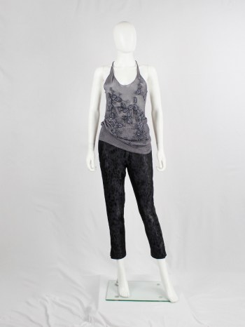 A.F. Vandevorst purple woven tanktop with sequin embroidered branches and leaves
