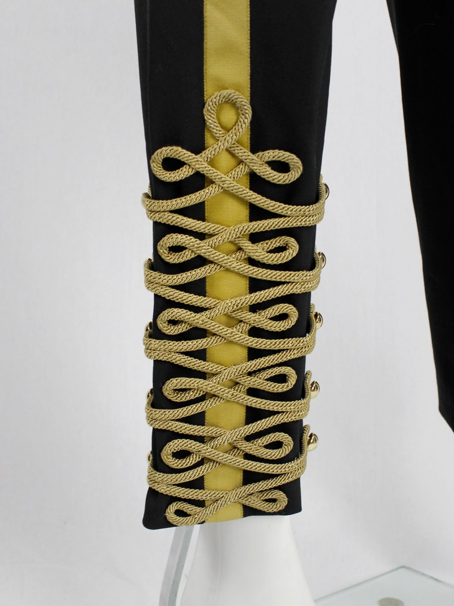 A.F. Vandevorst black Napoleonic officer's trousers with gold buttons and ropes fall 2017 couture (12)