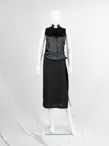 A.F. Vandevorst black sleeveless vest with corset boning in the back — fall 1999