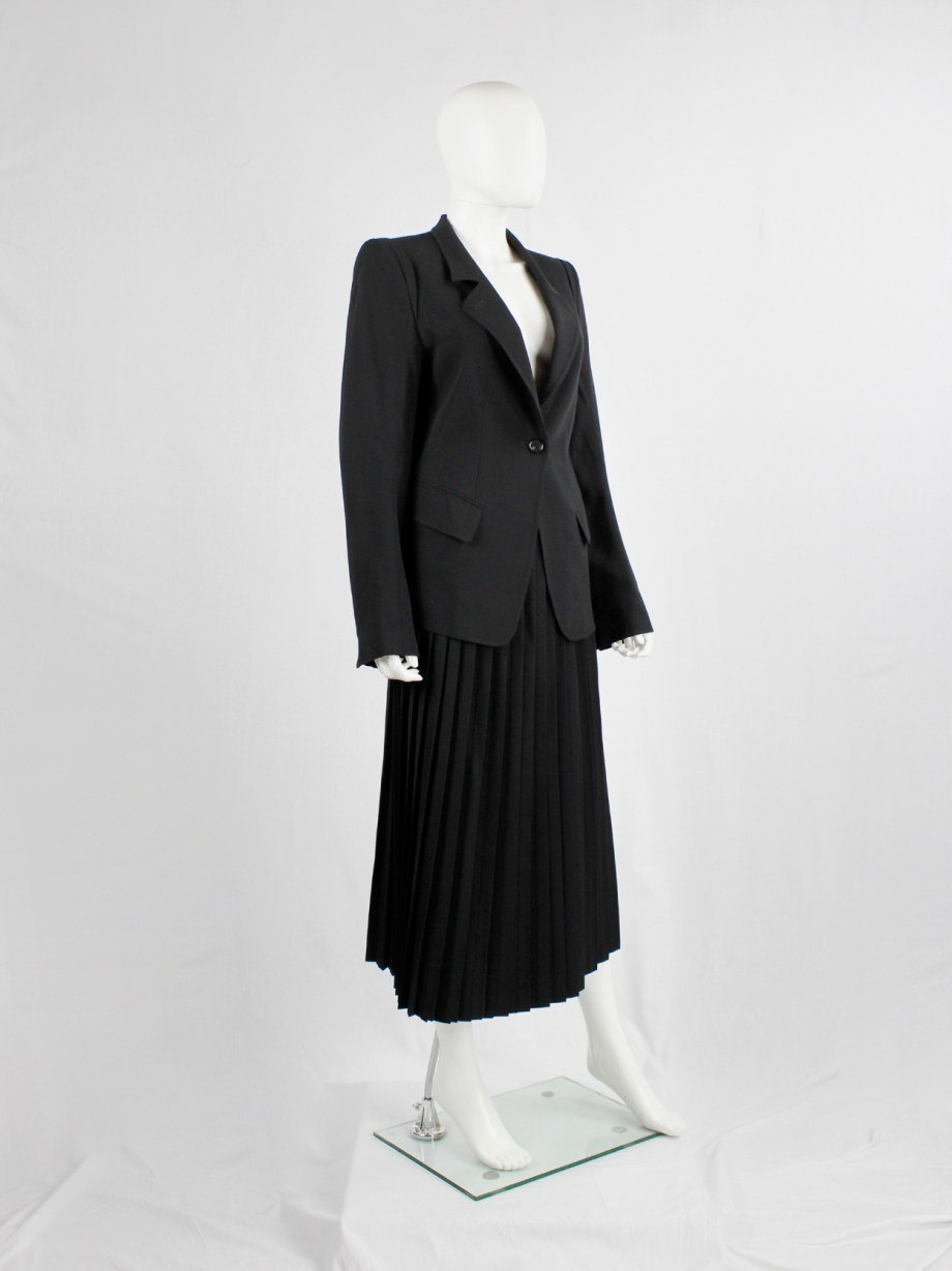 Ann Demeulemeester black classic blazer with single button closure