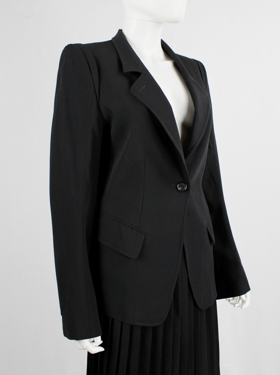 Ann Demeulemeester black classic blazer with single button closure (13)
