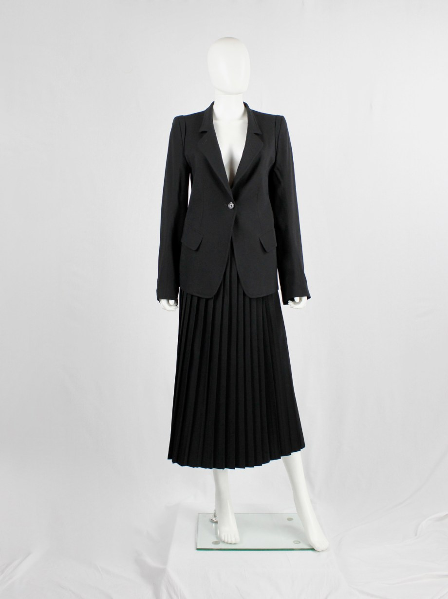 Ann Demeulemeester black classic blazer with single button closure (14)