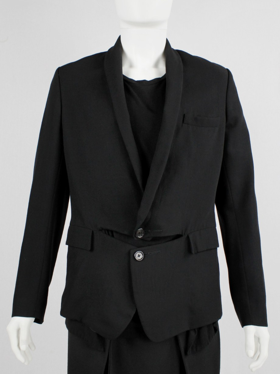 Ann Demeulemeester black blazer with front slit and draped panels — fall 2011