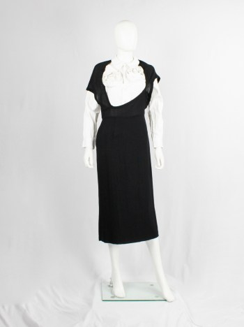 Comme des Garçons black dress with deformed upper and extra low neckline — spring 1999