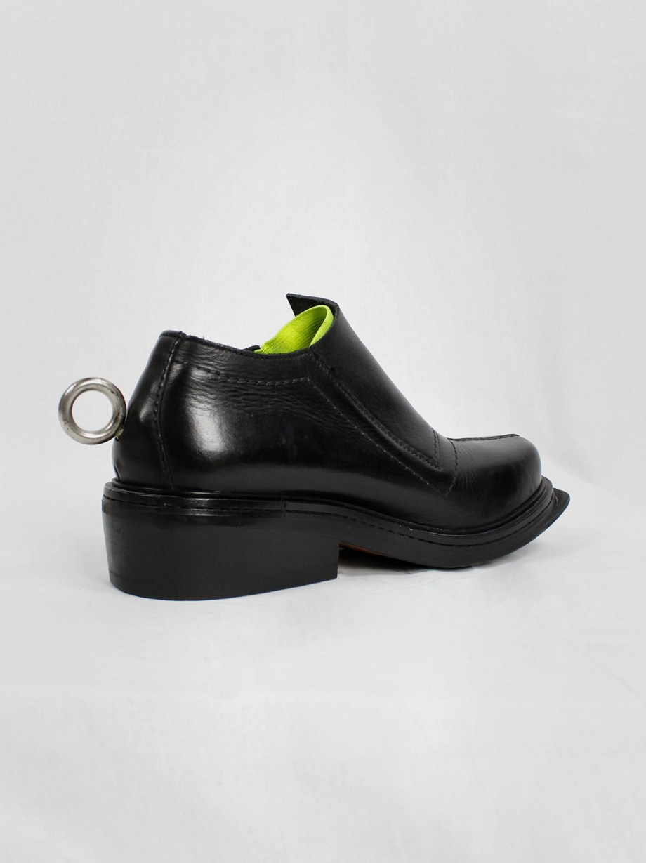Dirk Bikkembergs black ankle boots with metal ring and neon elastic (41) — spring 1998