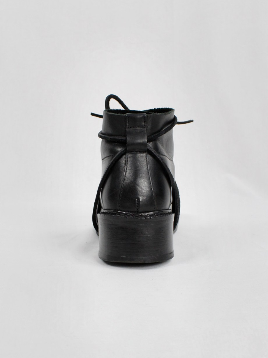 Dirk Bikkembergs black boots with flap and laces through the heel (38) — fall 1994
