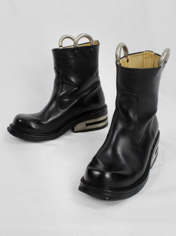 Dirk Bikkembergs black tall boots with metal slit heel and metal pulls (40) — mid 90's