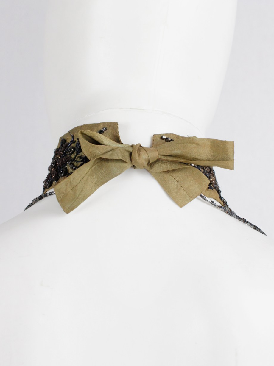 Dries Van Noten brown silk choker with floral embroidery and beaded strands — 1980's