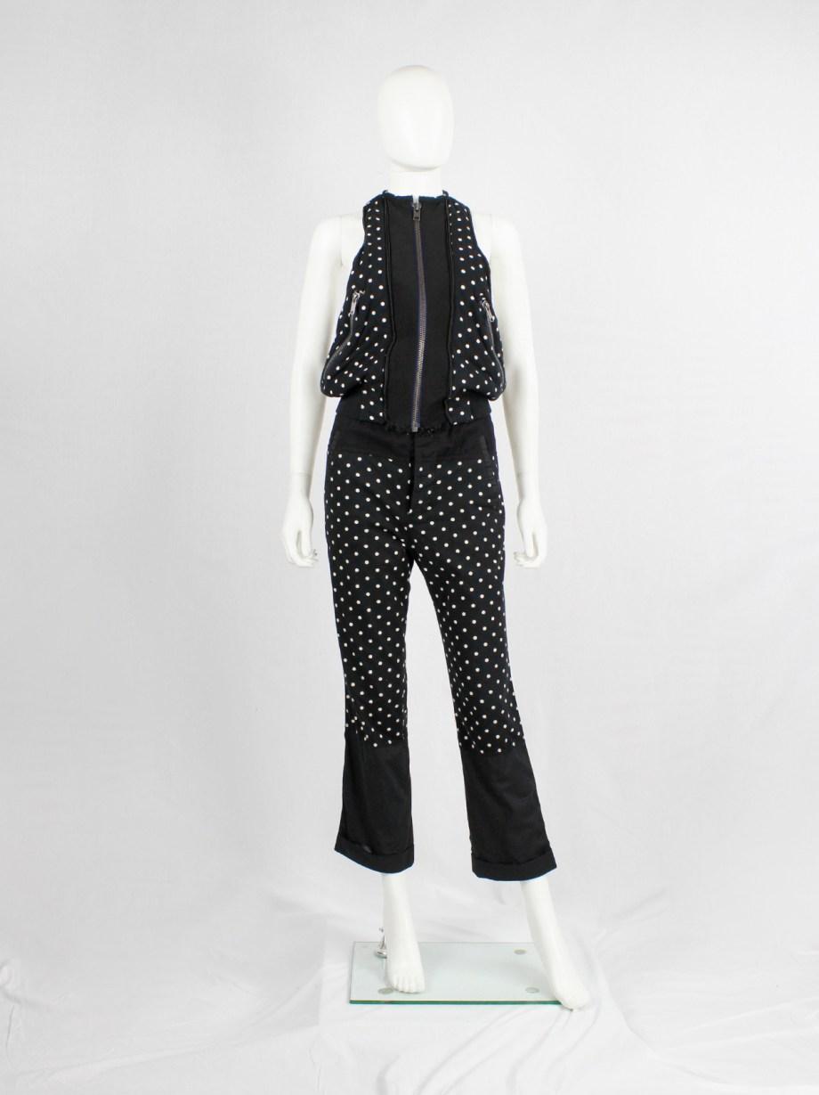 Haider Ackermann dark blue polkadot padded vest with zipper — spring 2013