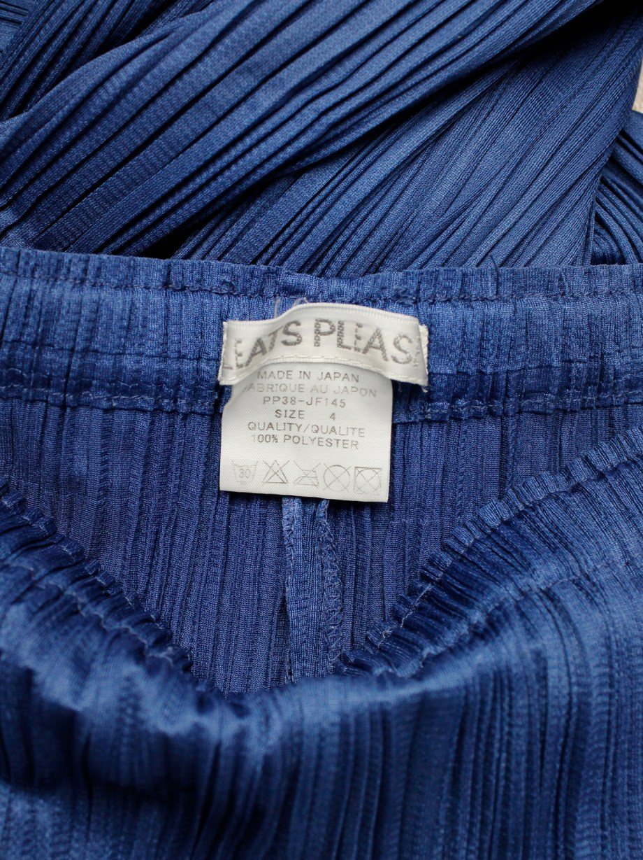 Issey Miyake Pleats Please bright blue loose trousers and open cardigan with fine pleating