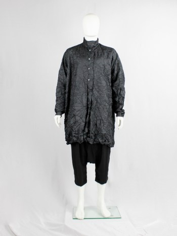 Issey Miyake black oversized shirt in permanently wrinkled fabric