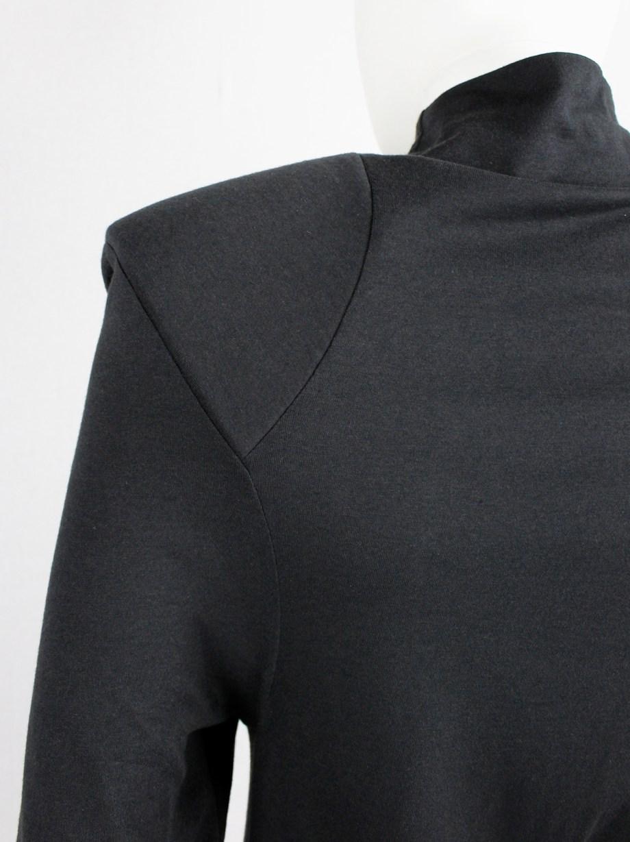 Jurgi Persoons x Dust dark grey 'gloryhole' dress with power shoulders — 2016