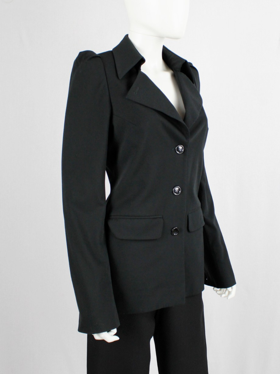 Lieve Van Gorp black tailored blazer with high collar and puffy shoulders — fall 2000