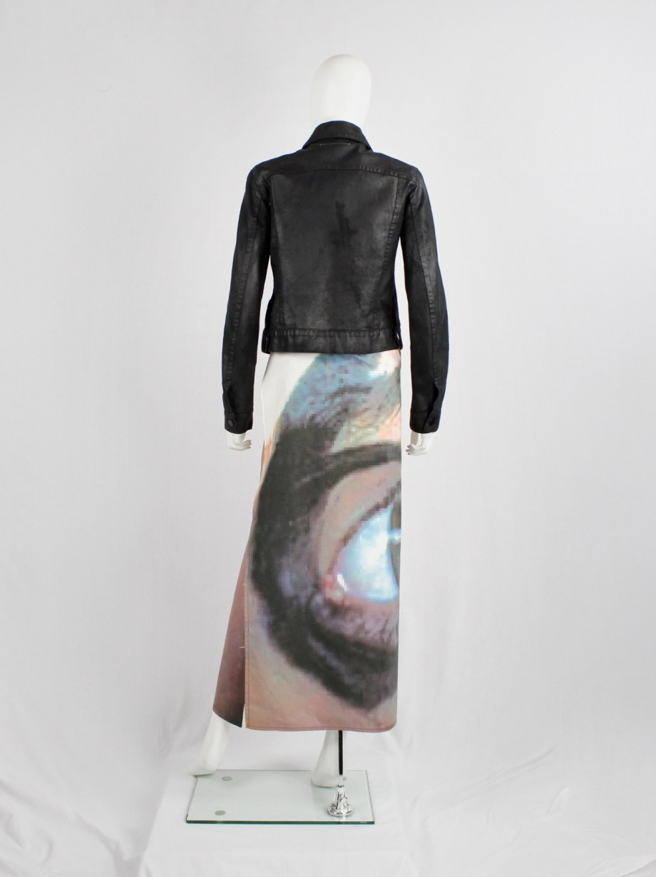 Maison Martin Margiela 6 maxi wrap skirt with a pixelated print of an eye — 2003/2004