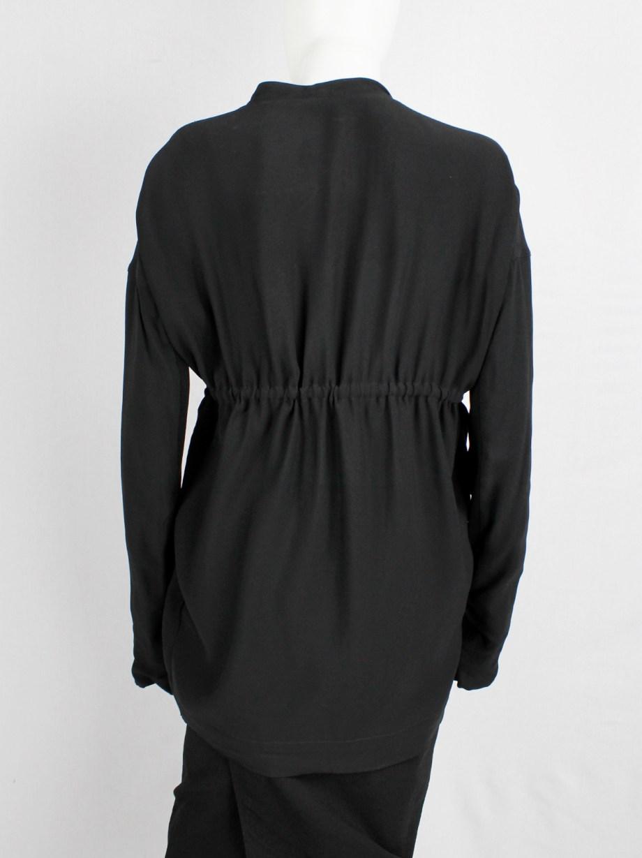 Rick Owens NASKA black minimalist cocoon cardigan with drawstring — spring 2012