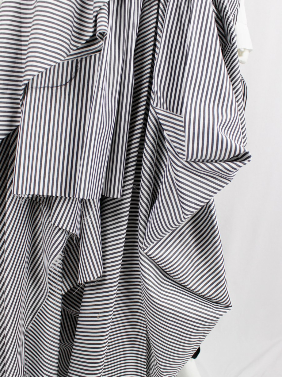 A.F. Vandevorst black and white striped bustier with gathered floor-length side drape — fall 2016