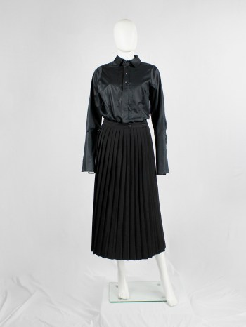 Y's Yohji Yamamoto black maxi skirt with sharp accordeon pleats