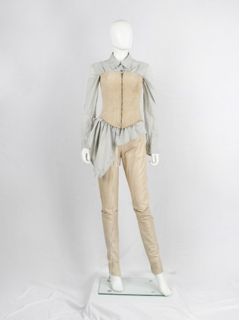 A.F. Vandevorst beige suede corset with front zipper and back lacing — spring 2000