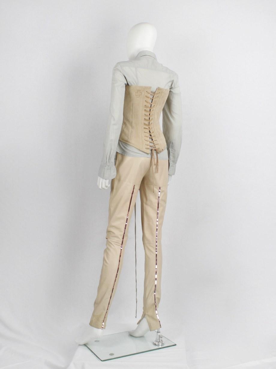 A.F. Vandevorst beige suede corset with front zipper and back lacing — spring 2000