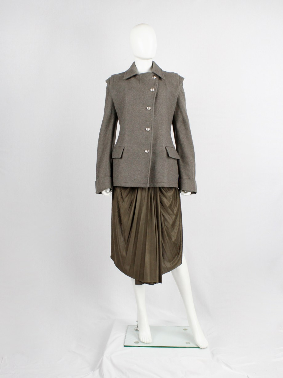 A.F. Vandevorst brown military coat with silver buttons and detachable sleeves — fall 1999