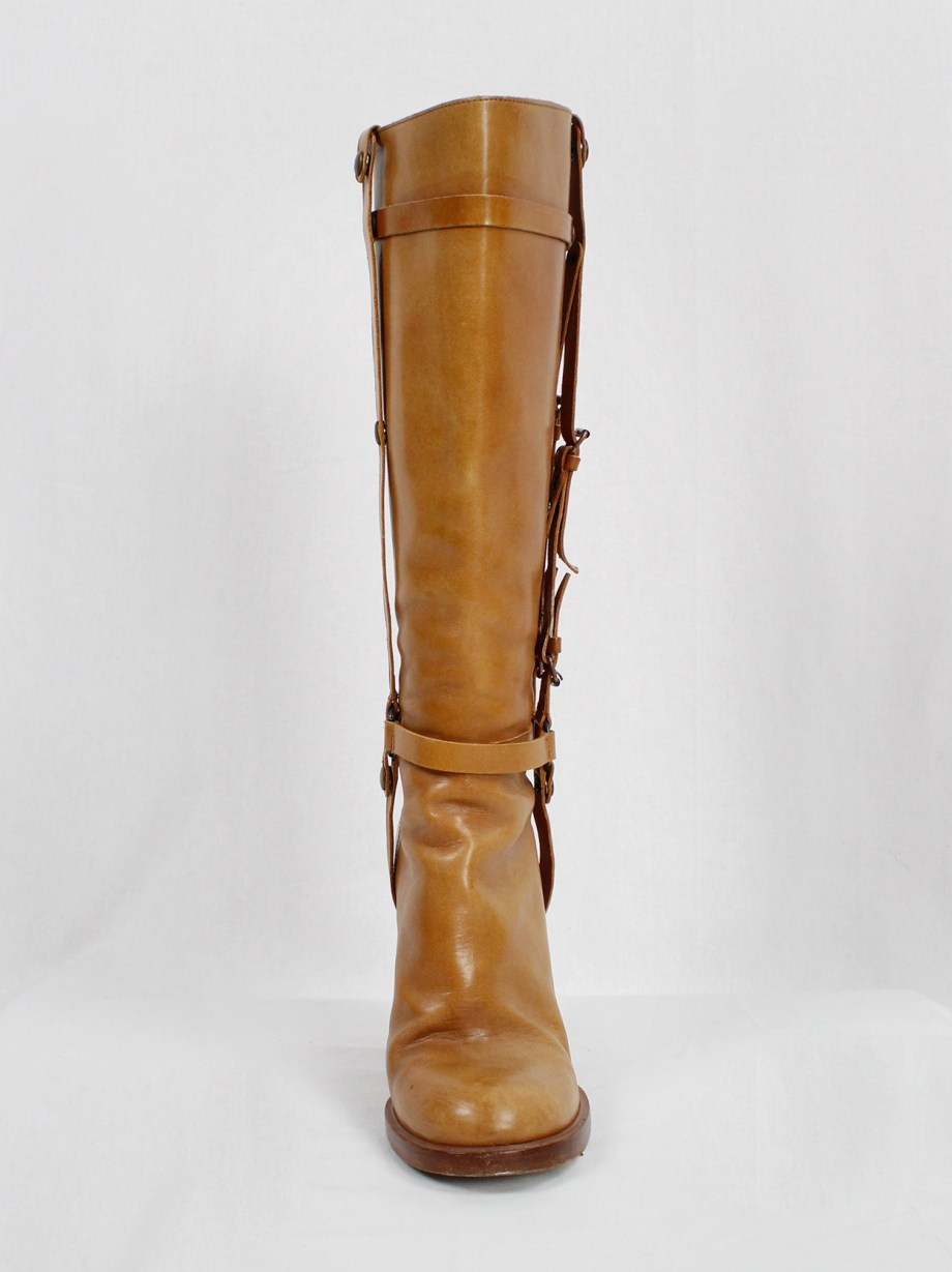 A.F. Vandevorst tall cognac boots with leather horse bit straps (39,5) — fall 2011